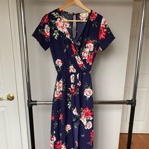 Navy Peony Floral Print Dress Romper